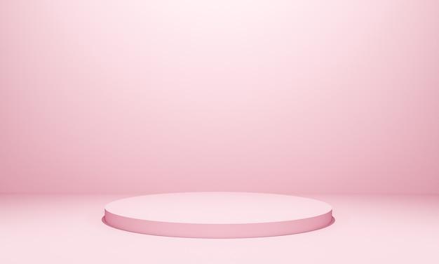 コピースペース、3dレンダリングの抽象的な背景デザインのミニマリズムスタイルでのモックアッププレゼンテーションのためのピンク色の表彰台のシーン