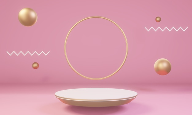 Scene with pink and gold shapes with podium for product