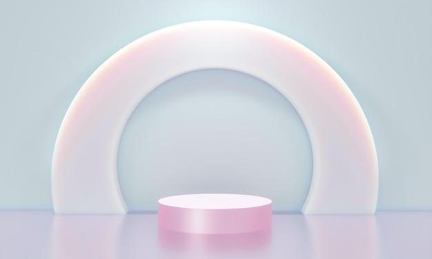最小限のスタイルでのプレゼンテーションのための表彰台のあるシーン3dレンダリング抽象的な背景デザイン