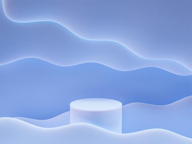최소한의 스타일 3d 렌더링 추상 배경 디자인으로 프레젠테이션을 위한 연단이 있는 장면