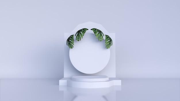 製品展示と緑の葉の表彰台のあるシーン。 3dレンダリング