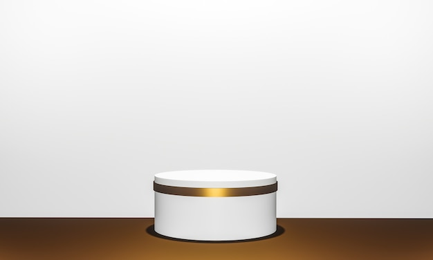 Scene with podium for presentation in minimal style 3d render abstract background design