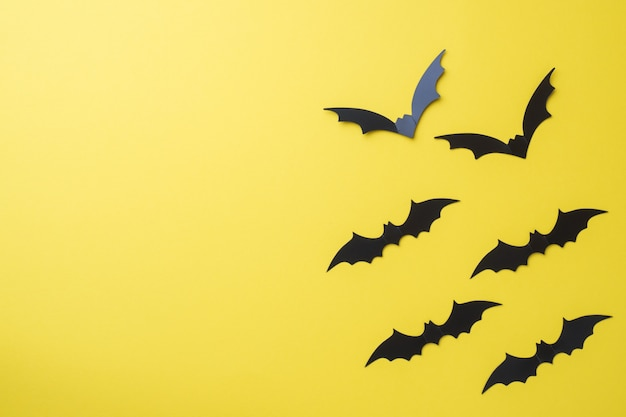Scenery bats on a yellow background