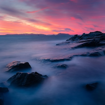 Scenery of a breathtaking colorful sunset over the rock formations
