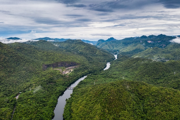 Scenery of dam in tropical rainforest in national park at kanchanaburi