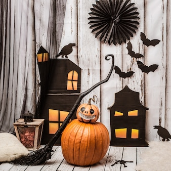 Scenery for a happy halloween with jack's pumpkin.