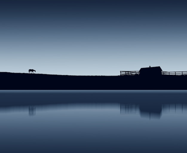 Scenery of a horse silhouette walking at the lake during nighttime