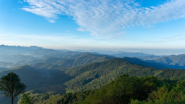 Scenery of the mountains in tropical rainforest abundant nature in asia thailand