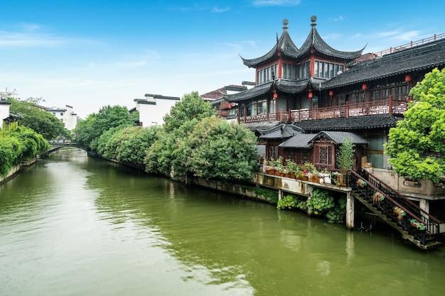 Пейзаж храма конфуция в нанкине, китай