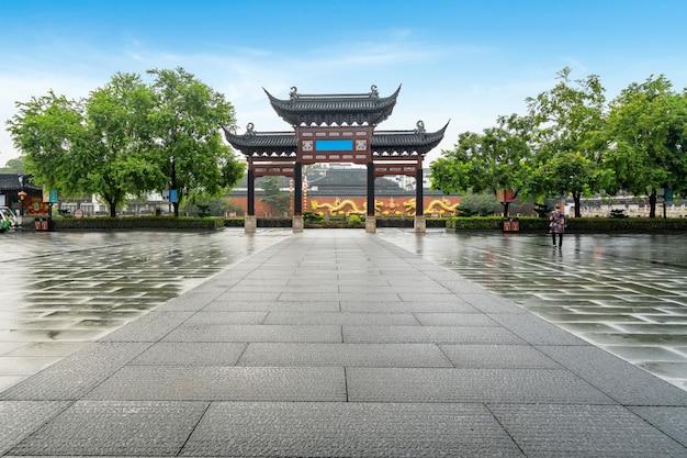 Пейзаж храма конфуция в нанкине, провинция цзянсу, китай