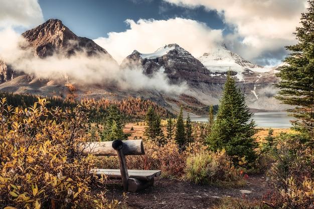 Пейзаж горы ассинибойн на озере магог и деревянный стул в осеннем лесу в провинциальном парке, британская колумбия, канада