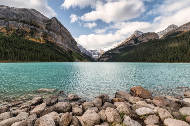 Scenery of rocky mountains with blue sky in lake louise at banff national park