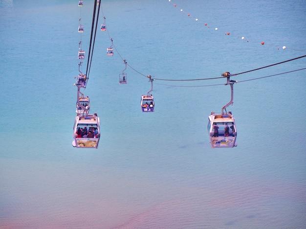 Scenery of sea, sky and ngong ping 360 cable cars in lantau island, hong kong.