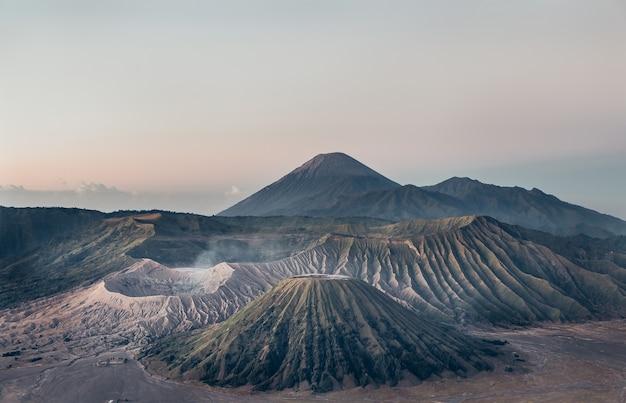 Scenery semeru volcano was spewing smoke and bromo volcano crater that still erupt