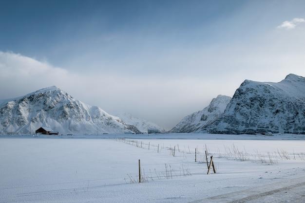 Scenery of snow mountain range with overcast sky