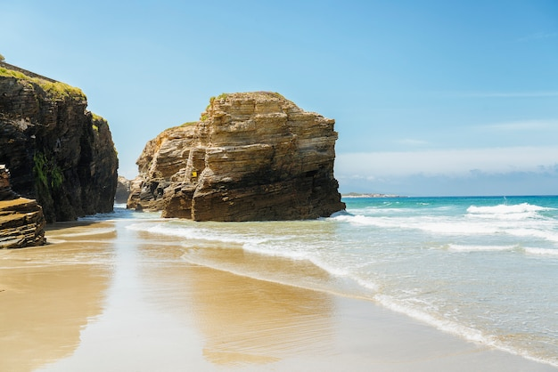 Scenery view of cathedrals beach in galicia, spain