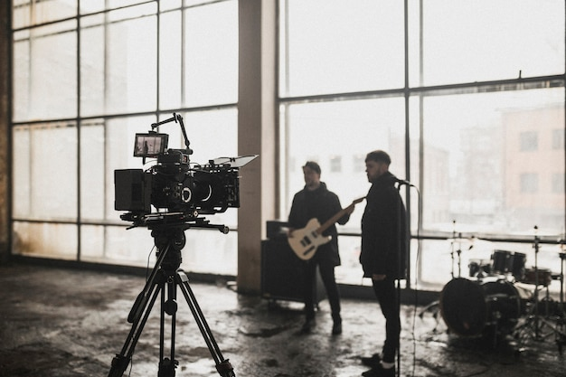 Behind the scenes from a music video shoot