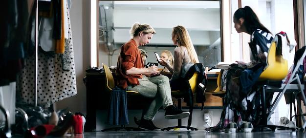 Behind the scenes in the makeup room