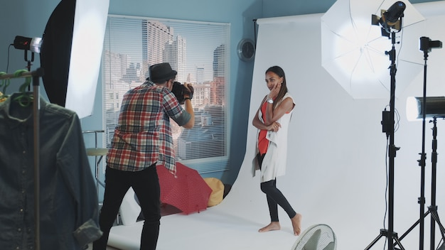 Behind the scenes on photo shoot