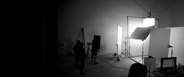 Behind the scenes of video recording or filming online movie by 8k high definition digital camera