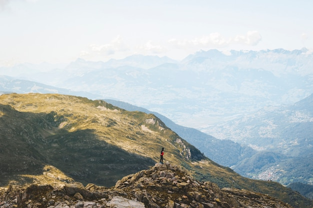 Scenic alps mountain panorama. journey travel trek and real life concept. beautiful nature. rest in the mountains. autumn in alps in green and white colors