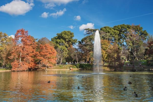 Scenic autumn view of el retiro park, in madrid, spain.