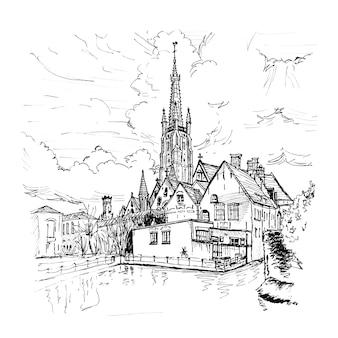美しい家々とブルージュ運河の風光明媚な街の景色