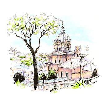 典型的なローマ教会とイタリアのローマの旧市街の石の松の木の風光明媚な街の景色。画像作成マーカー