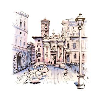 로마, 이탈리아에서 오래 된 도시에있는 교회와 전형적인 로마 광장의 경치 좋은 도시 전망. 그림으로 만든 마커