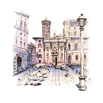 Scenic city view of typical roman square with church in the old city in rome, italy. picture made markers