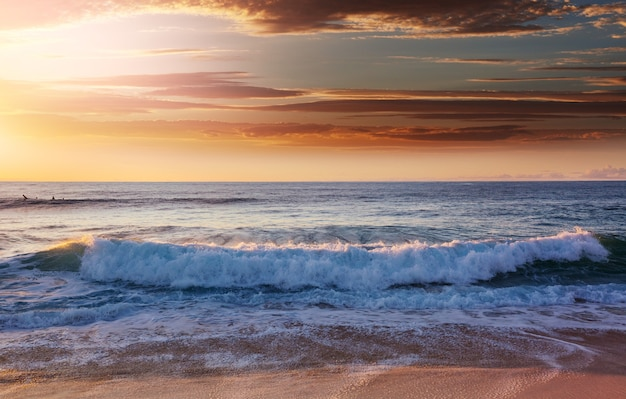 Scenic colorful sunset at the sea coast. good for wallpaper or background image.