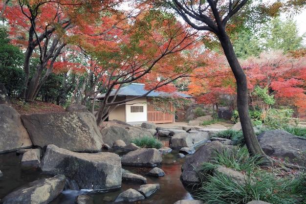 秋の時間までに東京の風光明媚な庭園 Premium写真