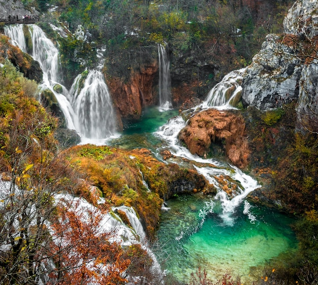 Scenic high angle shot of waterfalls from plitvice lakes national park located in plitvicki, croatia