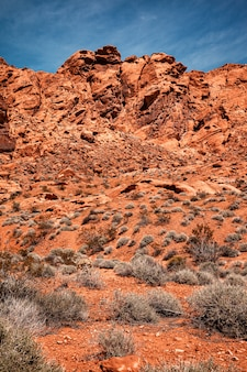 Scenic landscape with blue sky at valley of fire state park in nevada