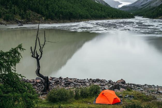 山の湖の水の近くに1つの鮮やかなオレンジ色のテントと美しい枯れ木がある風光明媚な風景。山の湖の端の水面近くに明るいオレンジ色のテントと乾いた木だけがある大気の風景。