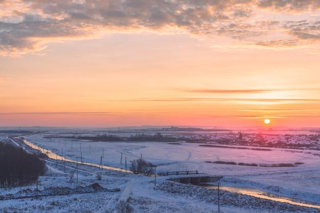 Scenic morning winter landscape