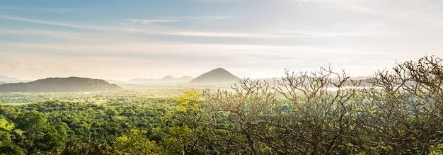 風光明媚な山の谷の風景、セイロン自然。スリランカの風景