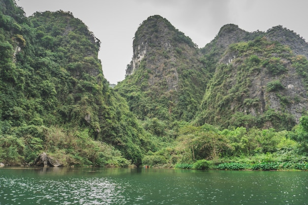 Scenic mountains lake in the ninh binh region of vietnam