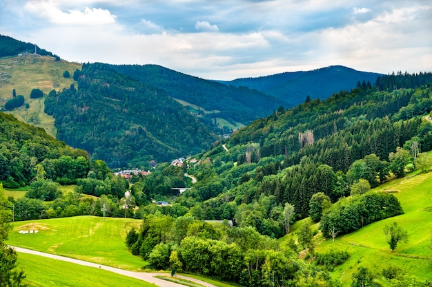 Scenic panorama of the black forest mountains in germany