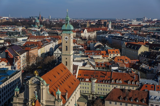Scenic panorama of the old town architecture of munich. germany