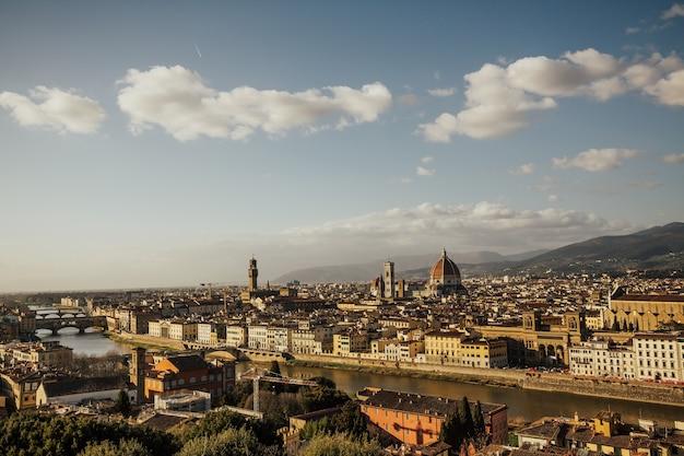 Живописный панорамный вид на флоренцию, италия от микеланджело.