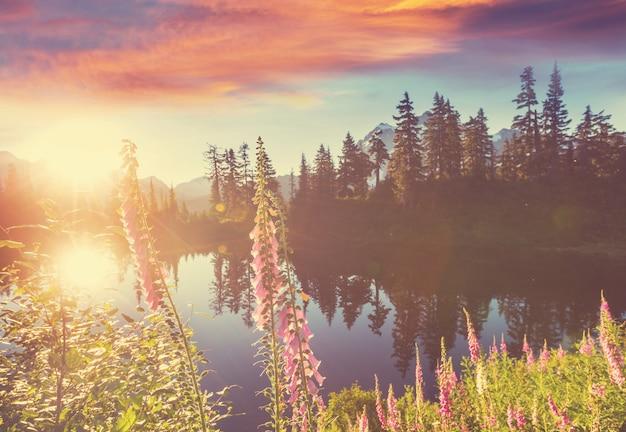 米国ワシントン州のシャックザン山の反射のある風光明媚なピクチャー湖