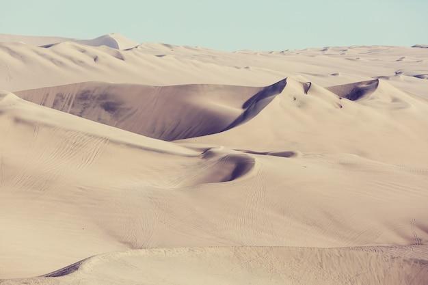 Scenic sand dunes in desert. instagram filter.