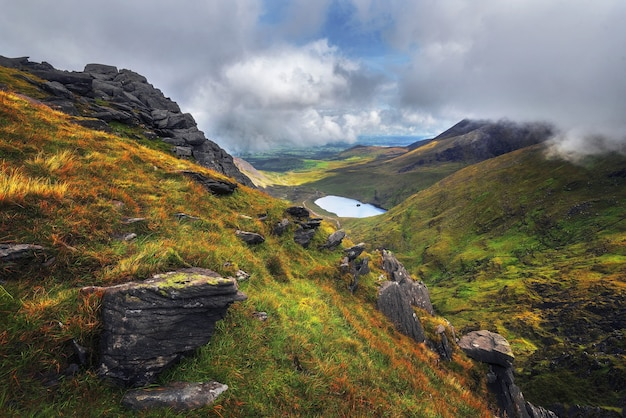 Scenic shot of the carrauntoohil in iveragh peninsula in county kerry, ireland