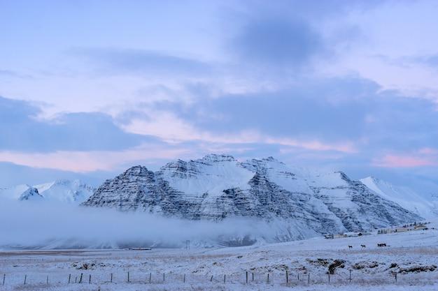 겨울 동안 아이슬란드의 아름다운 눈으로 덮인 땅과 산.