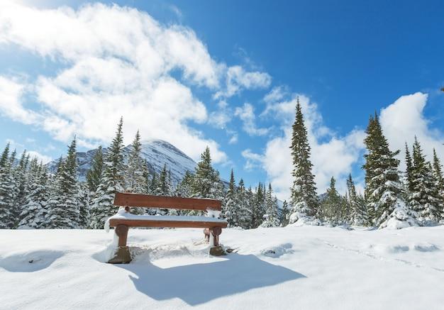 빙하 국립 공원, 몬태나, 미국에서 겨울에 경치 좋은 눈 덮인 봉우리.