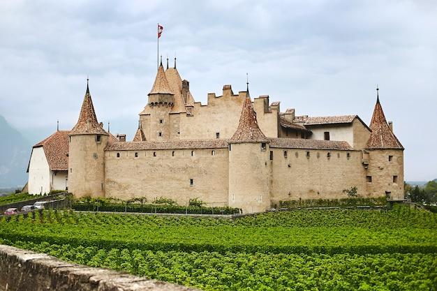 スイスのどこかにある古代中世の城の風光明媚な夏の景色