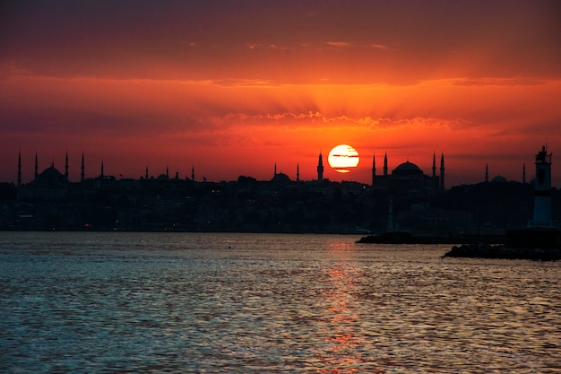 Scenic of sunrise over the ocean in istanbul turkey