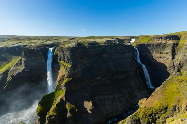 Scenic view beautiful of waterfall haifoss, iceland, summertime