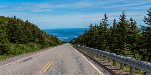 Scenic view of a coastal road, cabot trail, cape breton highlands national park, cape breton island,
